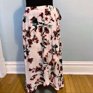 Bobeau floral faux rap hi-low skirt
